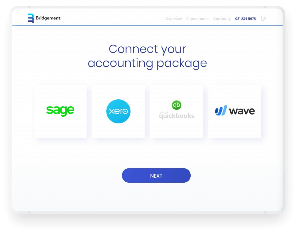 Image of accounting software logos presented on Bridgement's website
